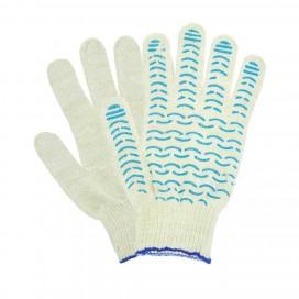 Перчатки хб СТАНДАРТ белые с ПВХ Точка, Волна, Протектор 10ый класс