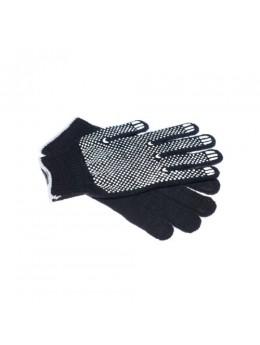 Перчатки хб ЛЮКС черные с белым ПВХ Точка, Волна 10ый класс
