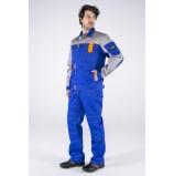 Костюм Союз-Профессионал-1 (тк.Балтекс,240) брюки, васильковый/св.серый/оранжевый