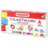 Пластилин классический ПИФАГОР 'ЭНИКИ-БЕНИКИ', 6 цветов, 120 г, со стеком, картонная упаковка, 100970