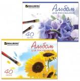 Альбом для рисования, А4, 40 листов, скоба, обложка картон, BRAUBERG, 200х283 мм, 'Цветы', 102851