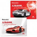 Альбом для рисования, А4, 40 листов, обложка картон, BRAUBERG, 200х283 мм, 'Автостиль', 102852