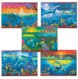 Альбом для рисования, А4, 12 листов, скоба, обложка офсет, HATBER VK, 205х290 мм, 'Дельфины', 12А4C, A069936