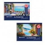 Альбом для рисования, А4, 40 листов, гребень, обложка картон, BRAUBERG, 205х290 мм, 'Пейзаж с цветами', 103730