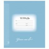 Тетрадь 12 л. BRAUBERG ЭКО '5-КА', клетка, обложка картон, СИНЯЯ, 104760