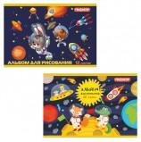 Альбом для рисования, А4, 12 л., скоба, обложка офсет, ПИФАГОР, 200х285 мм, 'Космонавты', 104858