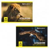 Альбом для рисования, А4, 40 л., скоба, обложка картон, BRAUBERG, 200х283 мм, 'Дикие животные', 104876