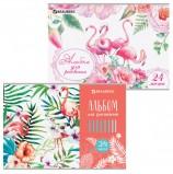 Альбом для рисования А4 24 листа, скоба, выборочный лак, BRAUBERG, 202х285 мм, 'Фламинго', 105059