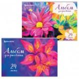 Альбом для рисования А4 24 листа, скоба, выборочный лак, BRAUBERG, 202х285 мм, 'Яркие цветы', 105060