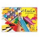Альбом для рисования А4 32 листа, скоба, обложка картон, BRAUBERG 'ЭКО', 202х285 мм, 'Краски', 105063