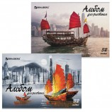Альбом для рисования А4 32 листа, скоба, глянцевый лак, BRAUBERG, 202х285 мм, 'Корабли', 105071