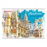 Альбом для рисования А4 40 листов, скоба, глянцевый лак, BRAUBERG, 202х285 мм, 'Города', 105094