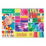 Альбом для рисования А4 40 л., скоба, выборочный лак, BRAUBERG, 202х285 мм, 'Коллаж', 105099