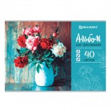Альбом для рисования А4 40 л., скоба, выборочный лак, BRAUBERG, 202х285 мм, 'Цветы в вазе', 105100