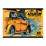 Альбом для рисования, А4, 40 л., гребень, обложка картон, BRAUBERG ЭКО, 205х290 мм, 'Форсаж', 105106