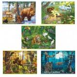 Альбом для рисования, А4, 20 листов, скоба, обложка картон, HATBER, 205х290 мм, 'В сказочном лесу' (5 видов), 20А4В