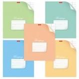 Тетрадь 12 л., HATBER, узкая линия, обложка картон, 'С уголком' (5 видов в спайке), 12Т5В7