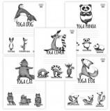 Тетрадь 24 л., HATBER, клетка, обложка картон, 'Animals Yoga' (5 видов), 24Т5В1