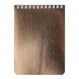 Блокнот, А6, 40 листов, гребень, обложка бумвинил, цветной срез, HATBER, 'METALLIC'-золото, 40Б6бвВ1гр