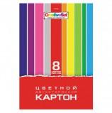 Картон цветной А4 2-сторонний МЕЛОВАННЫЙ, 8 листов, 8 цветов, в папке, HATBER, 195х280 мм, 'Creative Set', 8Кц4, 8Кц4_05934