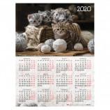 Календарь, А2, 2020 год, 45х60 см, вертикальный, 'Котята', HATBER, Кл2_20730