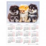 Календарь, А2, 2020 год, 45х60 см, вертикальный, 'Пушистые друзья', HATBER, Кл2_19062