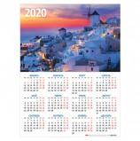 Календарь А2 2020 г, 45х60 см, вертикальный, 'Санторини', HATBER, Кл2_17563