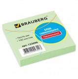 Блок самоклеящийся (стикер) BRAUBERG, 76х76 мм, 100 л., зеленый, 122696