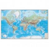 Карта настенная 'Мир. Обзорная карта. Физическая с границами', М-1:15 млн., разм. 192х140 см, ламинированная, тубус, 293