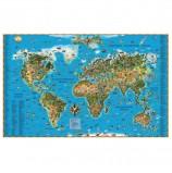 Карта настенная для детей 'Мир', размер 116х79 см, ламинированная, тубус, 450