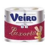 Бумага туалетная бытовая, спайка 4 шт., 3-х слойная (4х19,4 м), VEIRO Luxoria (Вейро), белая, 5с34