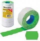 Этикет-лента 26х16 мм, волна, зеленая, комплект 5 рулонов по 800 шт., BRAUBERG, 123583