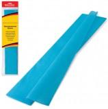 Цветная бумага крепированная BRAUBERG, стандарт, растяжение до 65%, 25 г/м2, европодвес, бирюза, 50х200 см, 124735