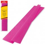 Цветная бумага крепированная BRAUBERG, стандарт, растяжение до 65%, 25 г/м2, европодвес, темно-розовая, 50х200 см, 124736