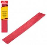 Цветная бумага крепированная BRAUBERG, металлик, растяжение до 35%, 50 г/м2, европодвес, красная, 50х100 см, 124737