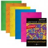 Цветной картон, А4, флуоресцентный, с узором из блесток, 5 цветов, 235 г/м2, BRAUBERG, 200х290 мм, 124776