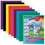 Цветная бумага А4 офсетная, 16 листов 8 цветов, на скобе, BRAUBERG, 200х275 мм, 'Зайка с бабочками', 124778