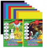 Цветная бумага А4 мелованная, 16 листов 8 цветов, на скобе, BRAUBERG, 200х280 мм (2 вида), 124782