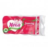 Бумага туалетная бытовая, спайка 8 шт., 2-х слойная (8х19,8 м), NEGA Family ('Нега'), белая