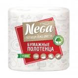 Полотенца бумажные бытовые, спайка 2 штуки, 2-х слойные (2х13,2 м), NEGA ('Нега'), белые