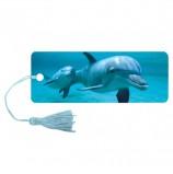 Закладка для книг 3D, BRAUBERG, объемная c движением 'Дельфин', с декоративным шнурком-завязкой, 125749
