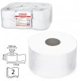 Бумага туалетная 170 м, ЛАЙМА (Система Т2), комплект 12 шт., люкс, 2-х слойная, белая, 126092