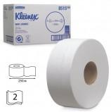 Бумага туалетная 250 м, KIMBERLY-CLARK Kleenex, КОМПЛЕКТ 6 шт., Миди Jumbo, 2-х слойная, белая, (диспенсер 601543), 8515