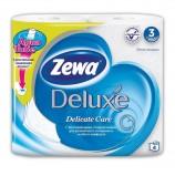 Бумага туалетная бытовая, спайка 4 шт., 3-х слойная (4х19 м), ZEWA Delux, белая, 3228