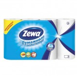 Полотенца бумажные бытовые, спайка 4 шт., 2-х слойные, (4х14 м), ZEWA, белые, 144099