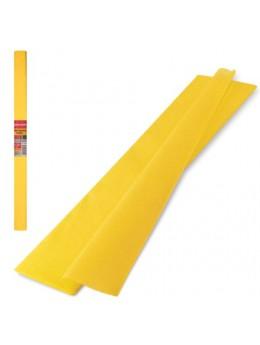 Цветная бумага крепированная плотная, растяжение до 45%, 32 г/м2, BRAUBERG, рулон, желтая, 50х250 см, 126529