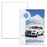Картон белый А4 МЕЛОВАННЫЙ, 10 листов, в папке, HATBER, 205х295 мм, Белая машина, 10Кб4 05807, N049709