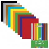 Цветная бумага А4 мелованная, 10 листов 10 цветов, в папке, HATBER 'Creative', 195х280 мм, 10Бц4м 05930, N050842