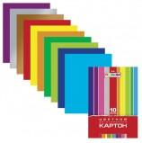 Картон цветной А4 2-сторонний МЕЛОВАННЫЙ, 10 листов 10 цветов, папка, HATBER, 195х280 мм, 'Creative', 10Кц4 05934, N138007