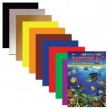 Картон цветной А4 2-сторонний МЕЛОВАННЫЙ, 10 листов 10 цветов, папка, HATBER, 195х280 мм, 'Подводный мир', 10Кц4_04109, N138021